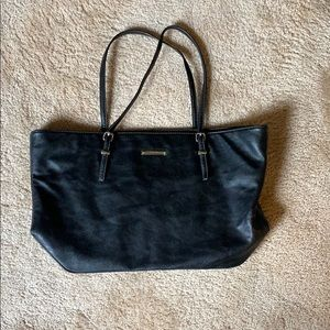 Black Pebbled Faux Leather Tote